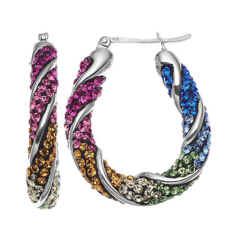 Crystal Sterling Silver Twist Oval Hoop Earrings