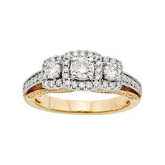 IGL Certified Diamond 3-Stone Halo Two Tone Engagement Ring in 14k Gold (1 Carat T.W.) by