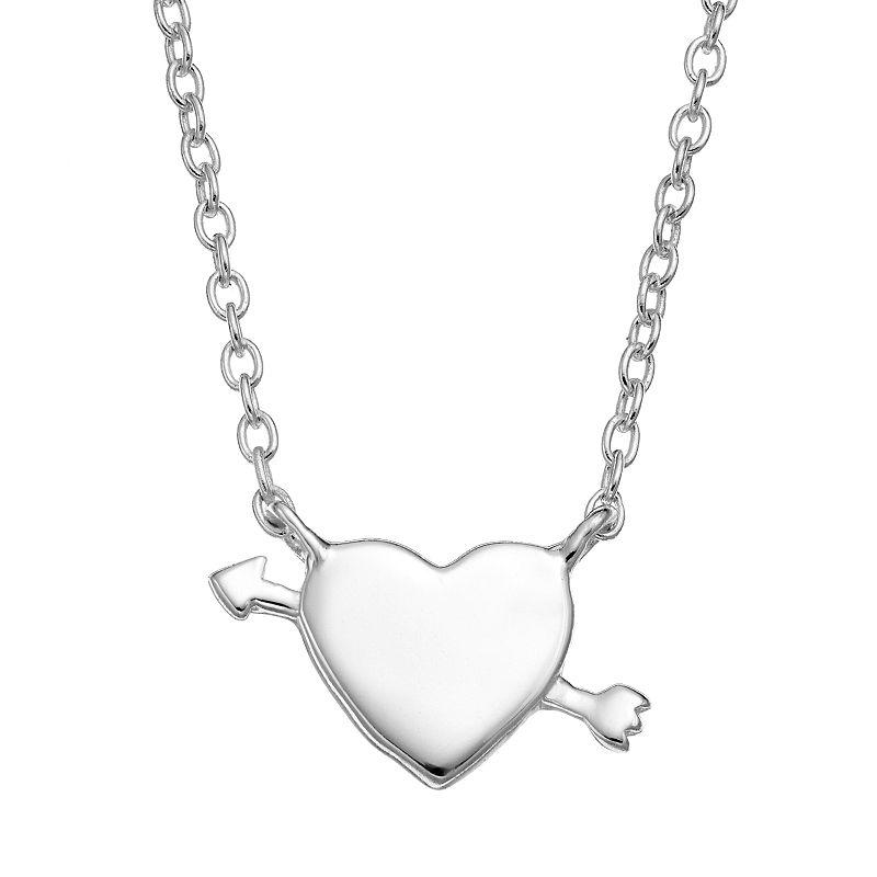 Sterling Silver Heart & Arrow Necklace