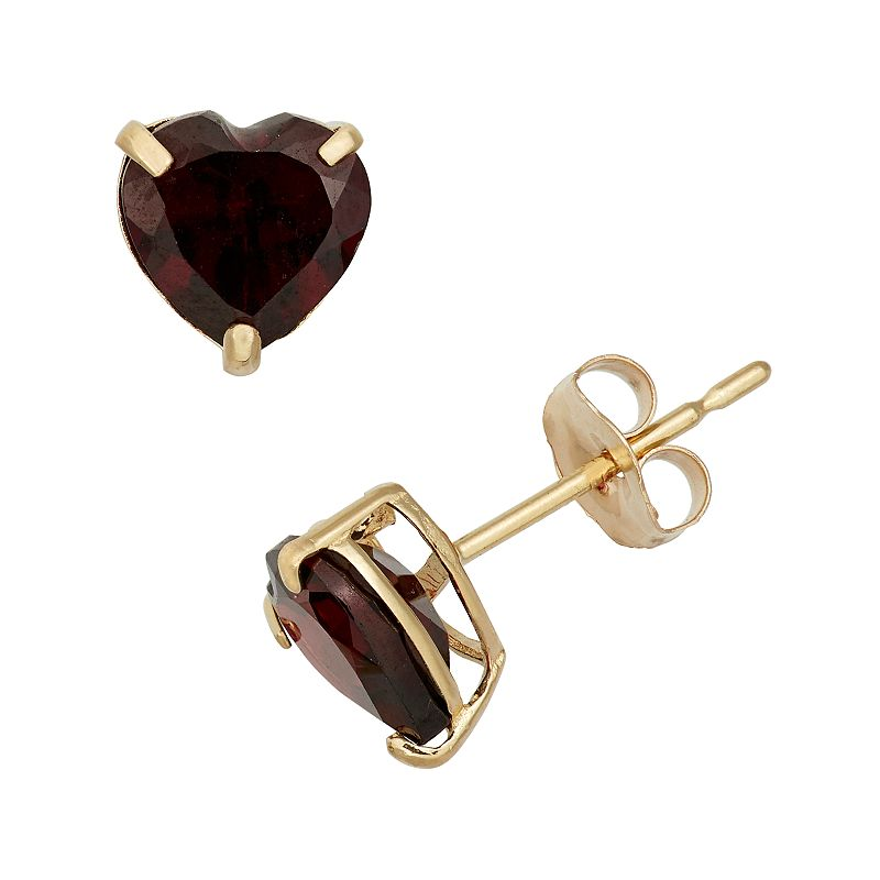 Garnet 10k Gold Heart Stud Earrings