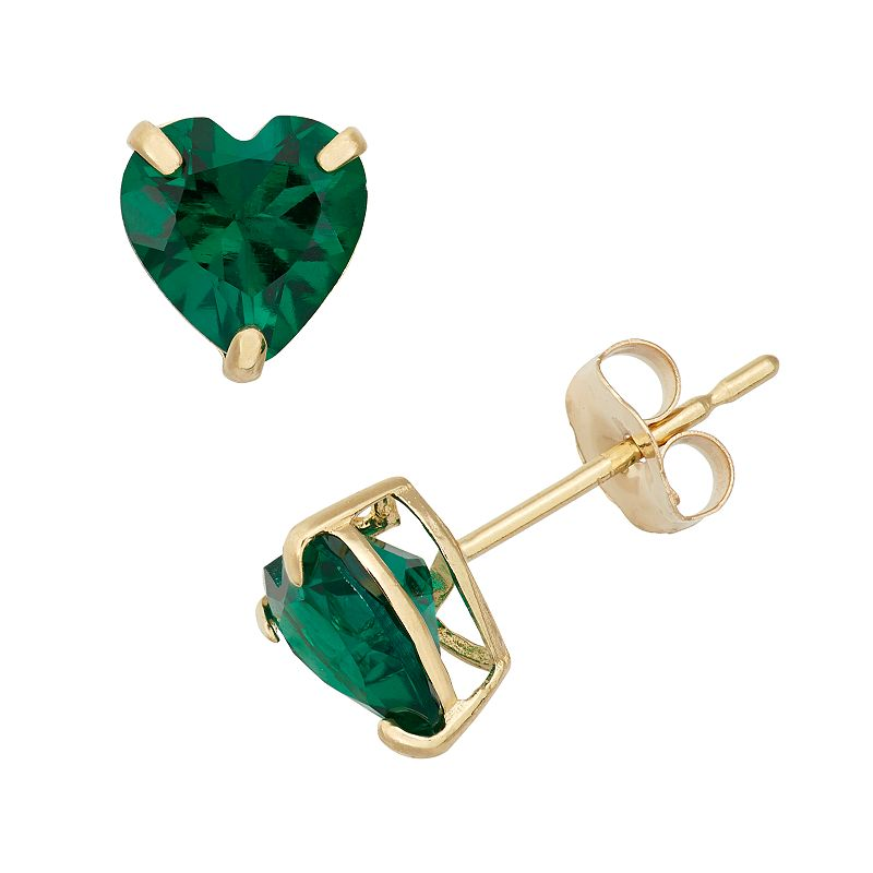 Lab-Created Emerald 10k Gold Heart Stud Earrings