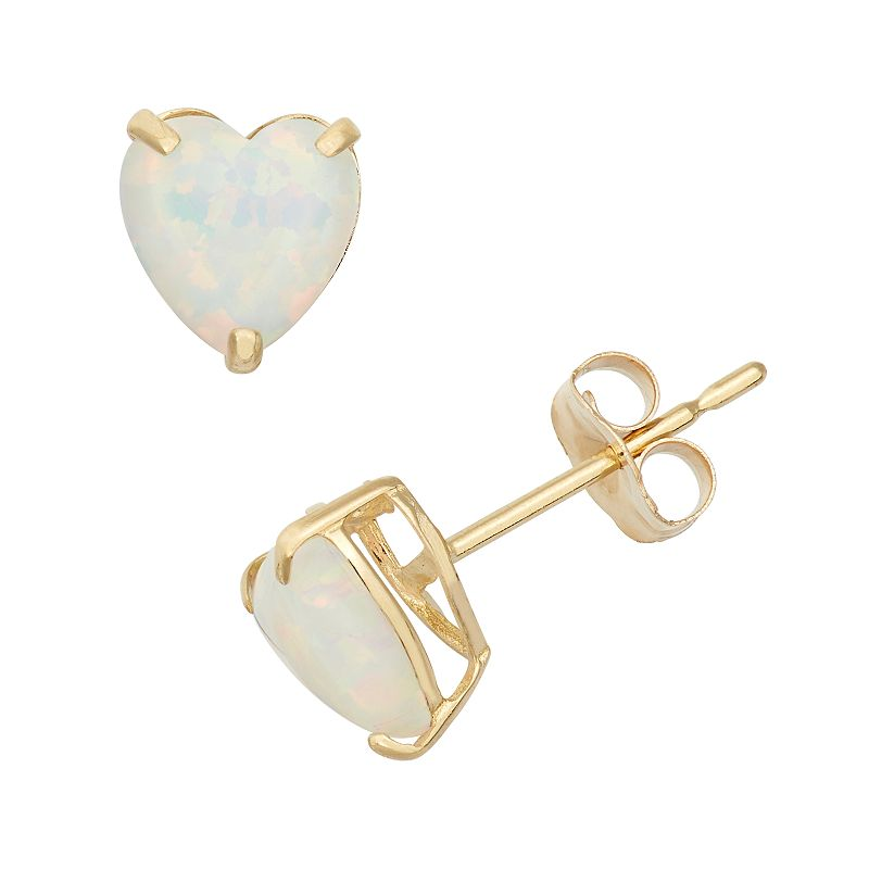 Lab-Created Opal 10k Gold Heart Stud Earrings