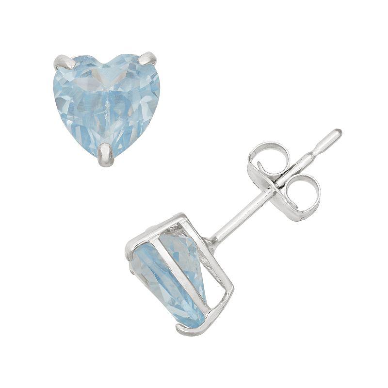 Lab-Created Aquamarine 10k White Gold Heart Stud Earrings