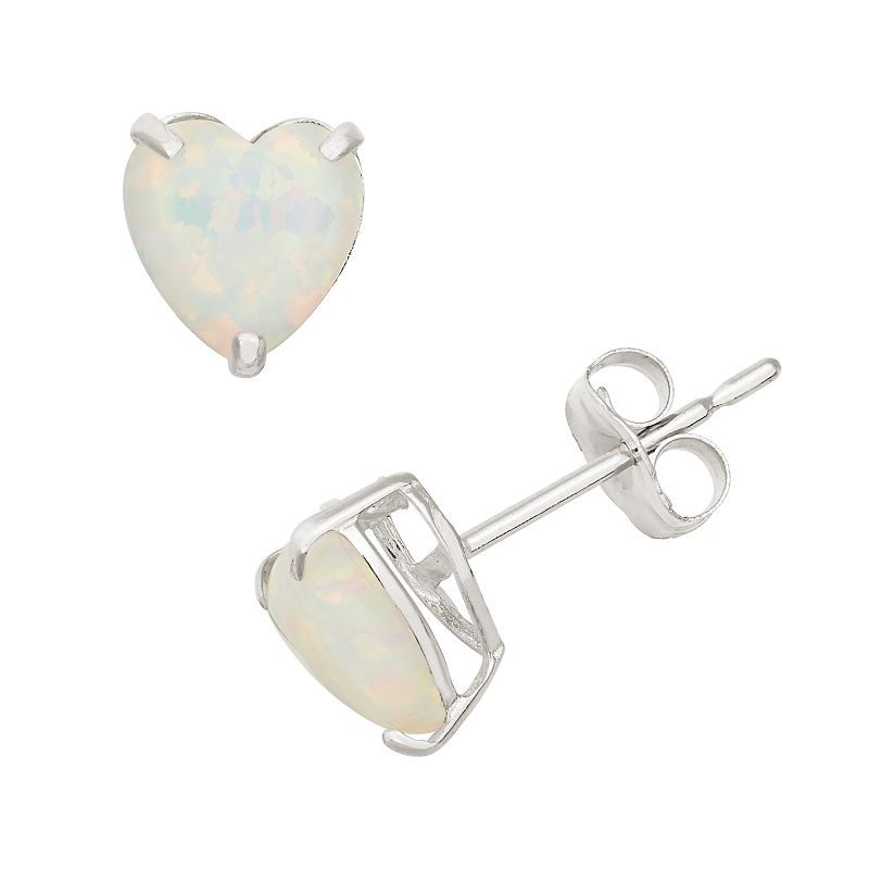 Lab-Created Opal 10k White Gold Heart Stud Earrings