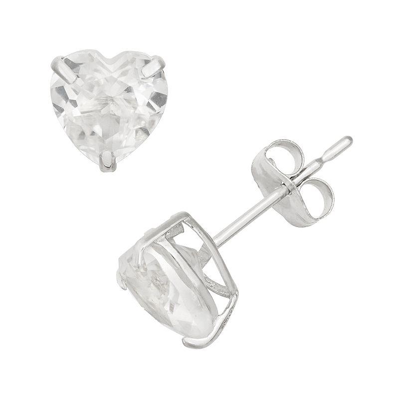 Lab-Created White Sapphire 10k White Gold Heart Stud Earrings