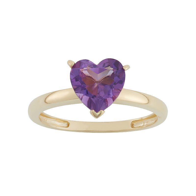 Amethyst 10k Gold Heart Ring