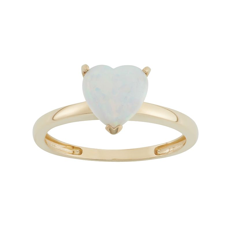 Lab-Created Opal 10k Gold Heart Ring