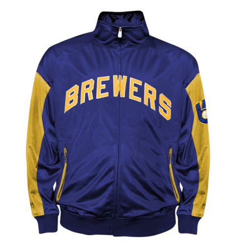 Big & Tall Milwaukee Brewers Blue Tricot Track Jacket