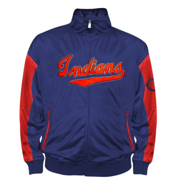 Big & Tall Cleveland Indians Navy Tricot Track Jacket