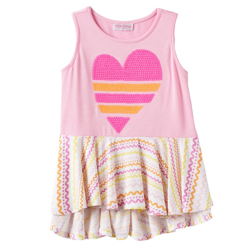 Toddler Girl Design 365 High-Low Sequin Heart Tunic