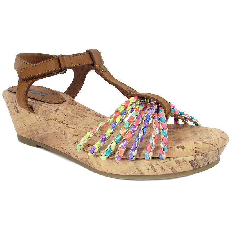 Mia Frenzy Girls' Braided T-Strap Wedge Sandals