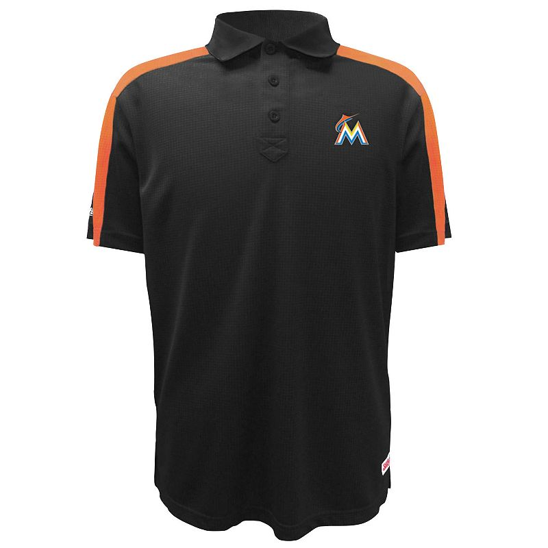 Men's Stitches Miami Marlins Waffle Polo