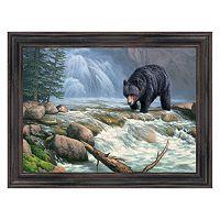 Reflective Art ''Black Bear Territory'' Framed Canvas Wall Art