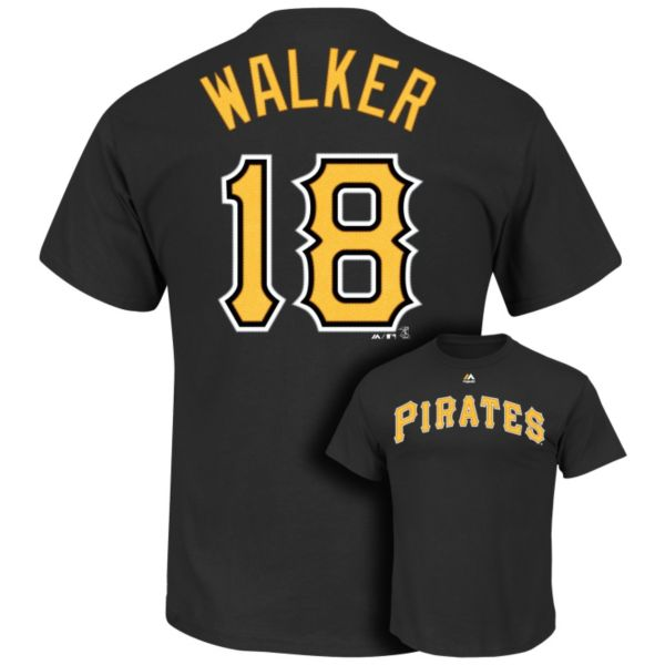 Men's Majestic Pittsburgh Pirates Neil Walker Player Name and Number Tee