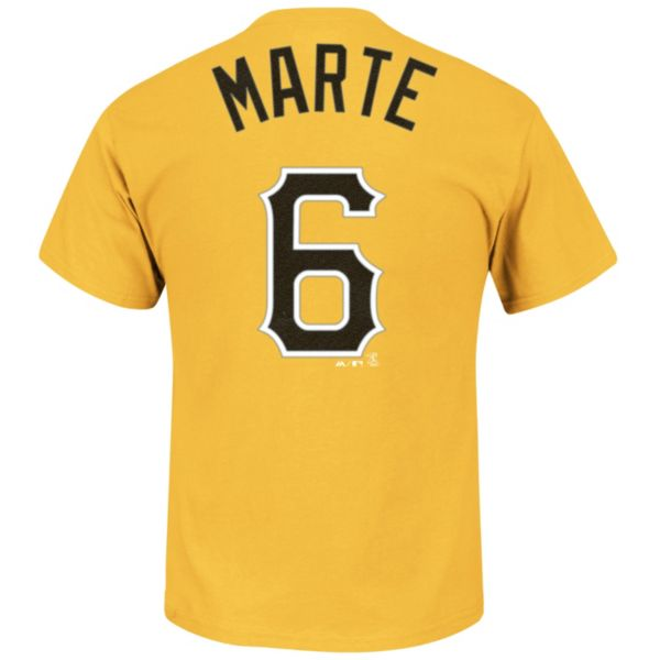 Men's Majestic Pittsburgh Pirates Starling Marte Player Name and Number Tee