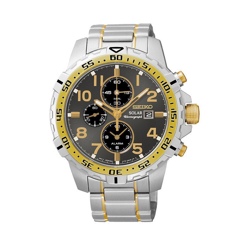 Seiko Men's Two Tone Stainless Steel Solar Chronograph Watch - SSC304