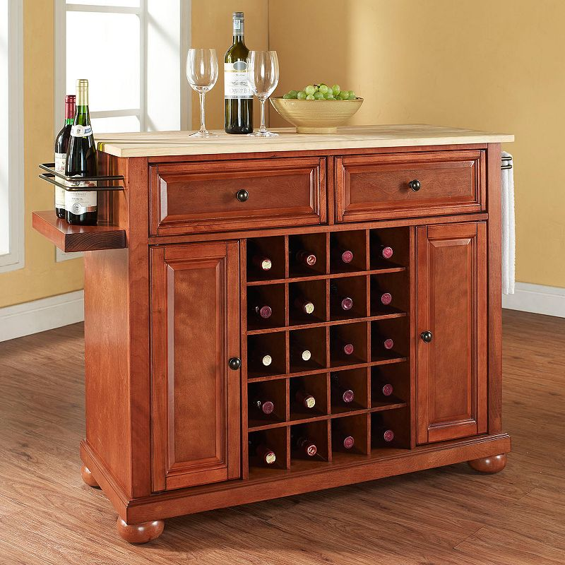Crosley Furniture Alexandria Wood Top 20-Bottle Wine Console Table