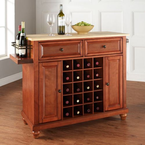 Crosley Furniture Cambridge Wood Top 20-Bottle Wine Console Table