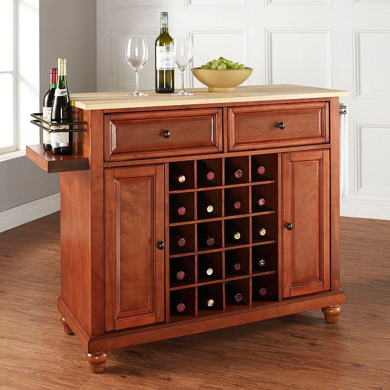 Crosley Furniture Cambridge Wood Top 20-Bottle Wine Console Table