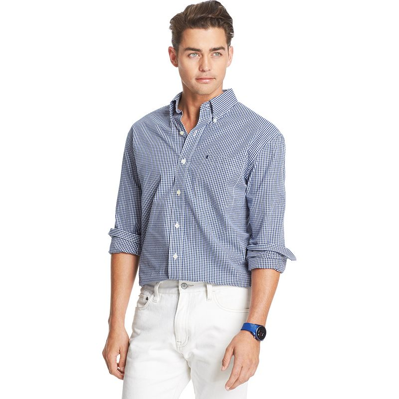 Izod classic fit gingham checked casual button down shirt for Izod button down shirts