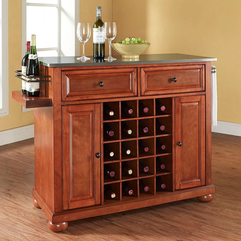 Crosley Furniture Alexandria Stainless Steel 20-Bottle Wine Console Table