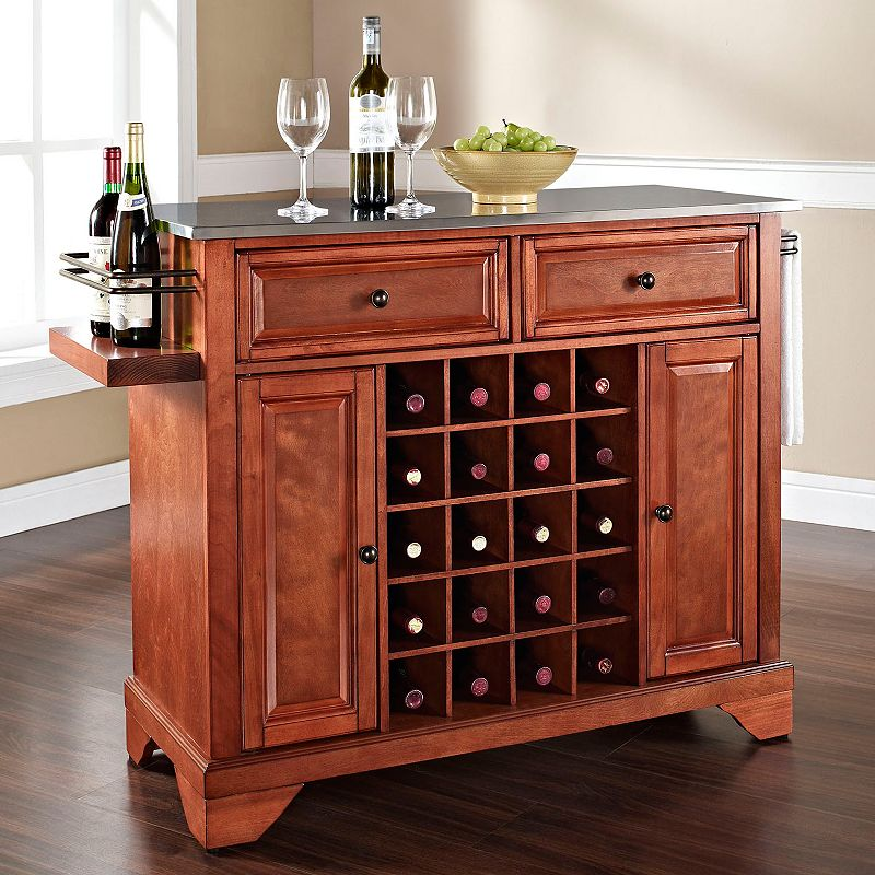 Crosley Furniture Lafayette Stainless Steel 20-Bottle Wine Console Table