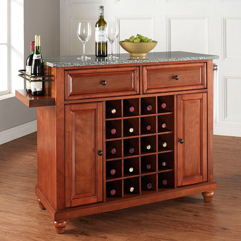 Crosley Furniture Cambridge Granite Wine Console Table