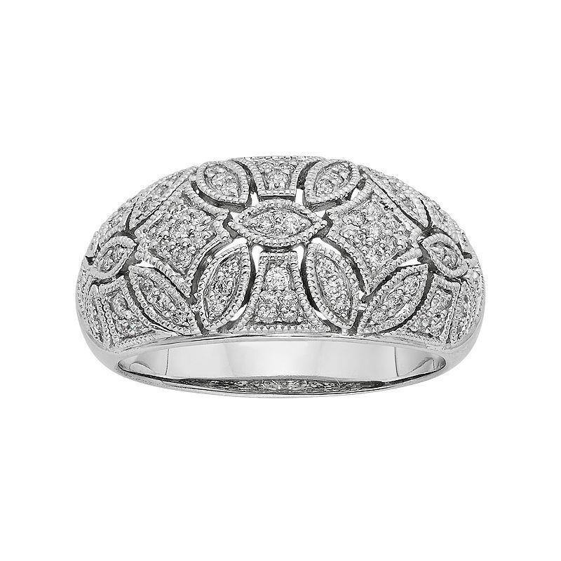 1/3 Carat T.W. IGL Certified Diamond 14k White Gold Art Deco Wedding Ring