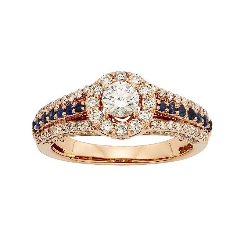 IGL Certified Diamond and Blue Sapphire Tiered Halo Engagement Ring in 14k Rose Gold (1 Carat T.W.)