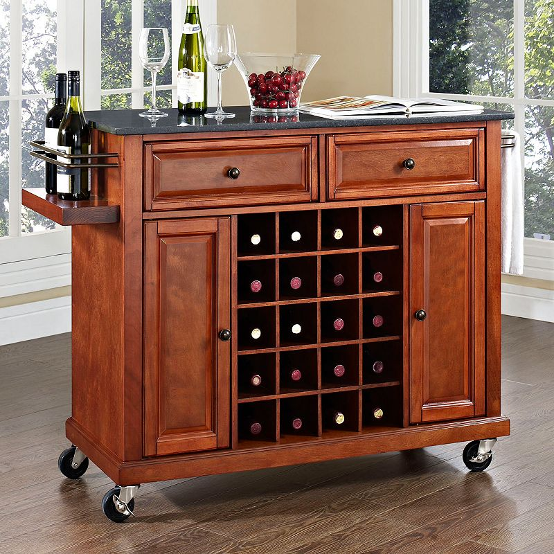 Crosley Furniture Black Granite Top Wine Console Table