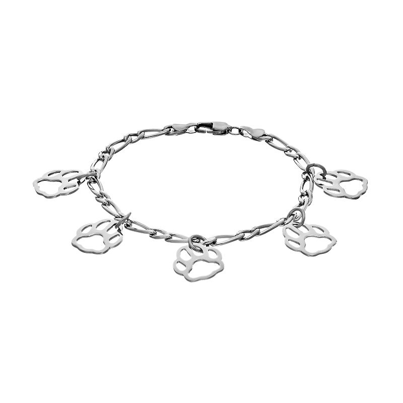 Steel City Stainless Steel Paw Print Charm Bracelet