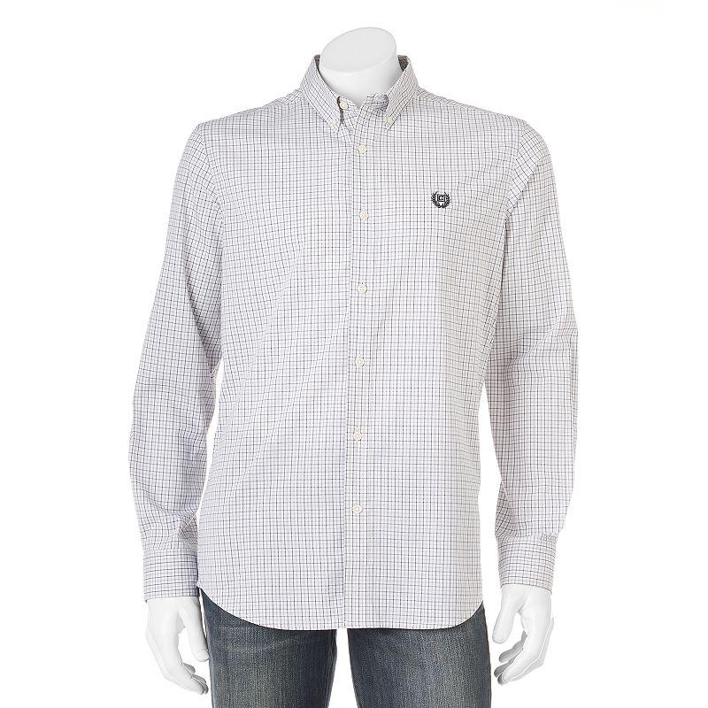 Men's Chaps Sayrook Custom-Fit Tattersal Grid Casual Button-Down Shirt