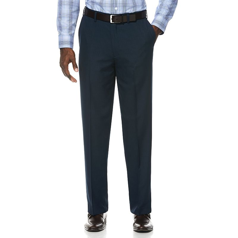 Men's Savane Straight-Fit Striated Herringbone Comfort-Waist No-Iron Flat-Front Dress Pants