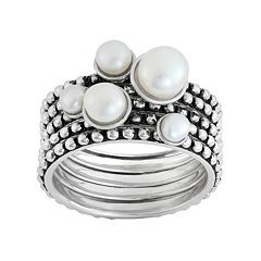 Freshwater Cultured Pearl Sterling Silver Stack Ring Set