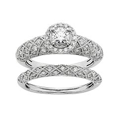 IGL Certified Diamond Art Deco Halo Engagement Ring Set in 14k White Gold (1 Carat T.W.) by