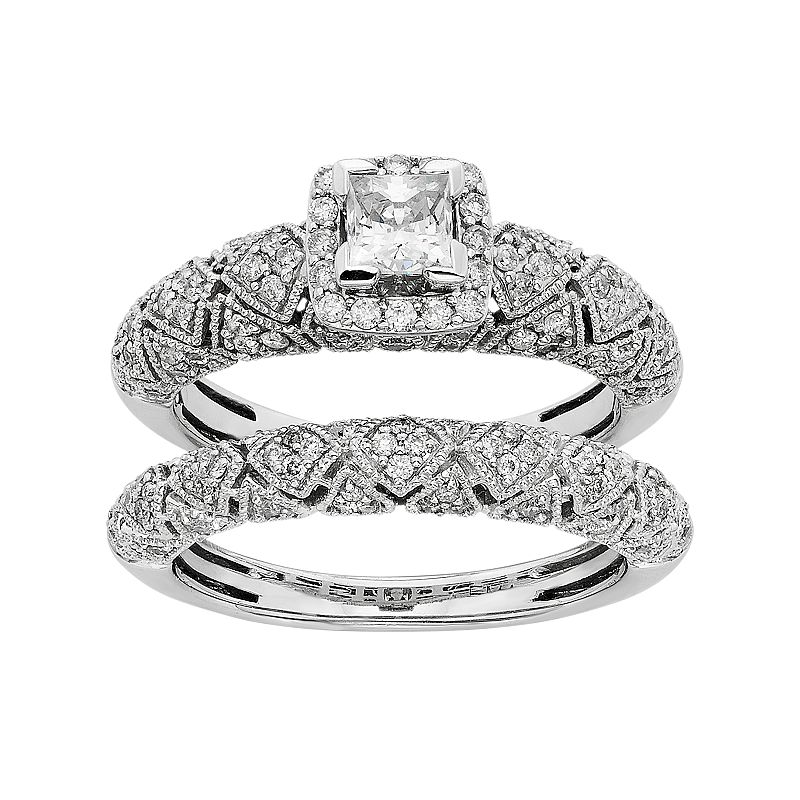 IGL Certified Diamond Art Deco Square Halo Engagement Ring Set in 14k White Gold (1 Carat T.W.)