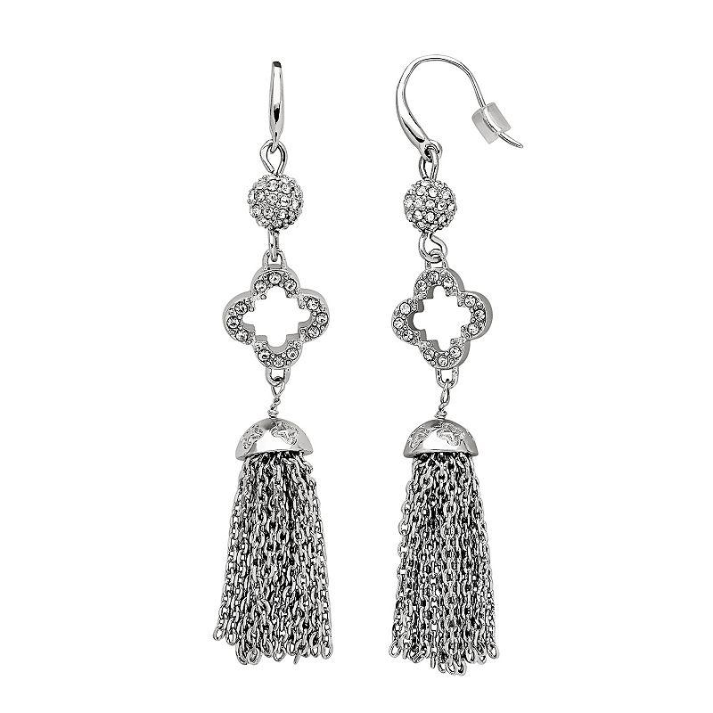 Marie Claire Jewelry Crystal Silver Tone Clover Tassel Drop Earrings