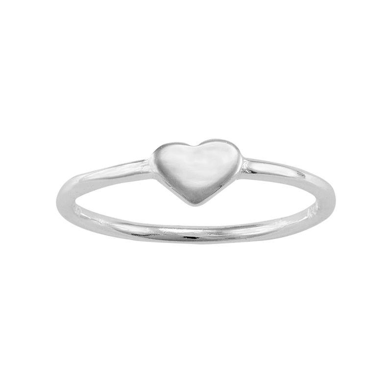 Sterling Silver Heart Midi Ring