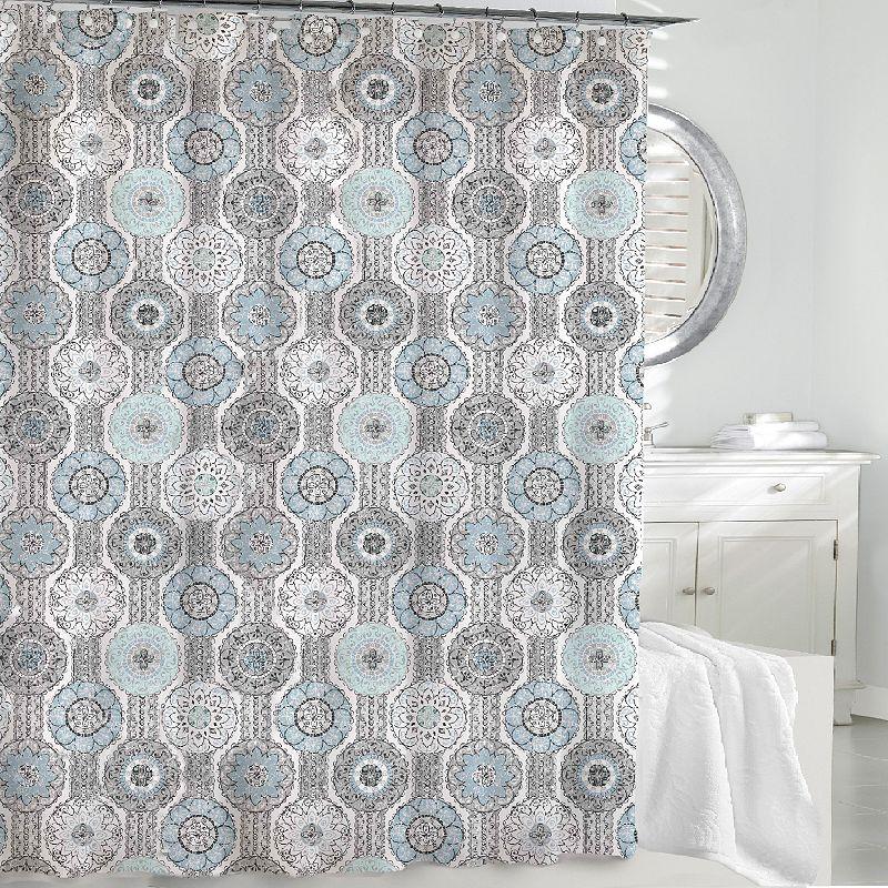 Kassatex Urban Tiles Fabric Shower Curtain