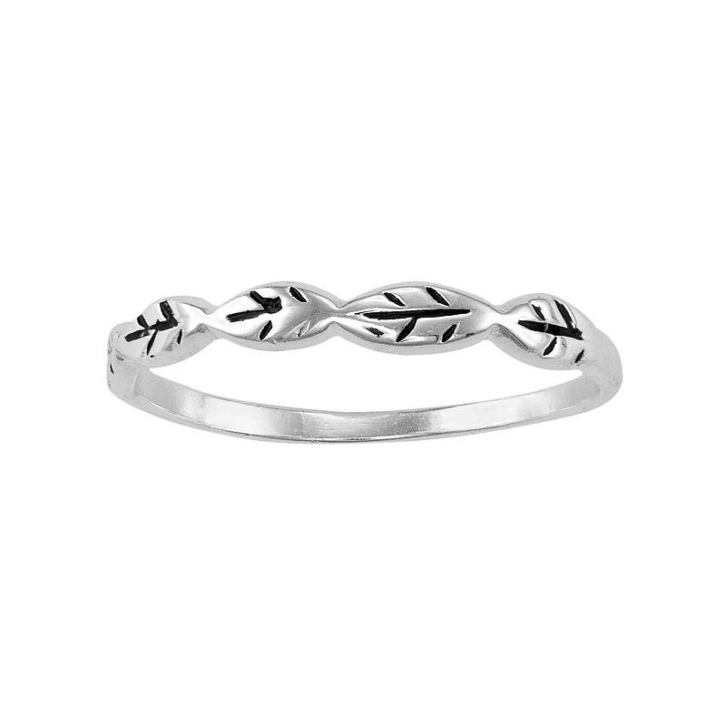 Sterling Silver Leaf Midi Ring