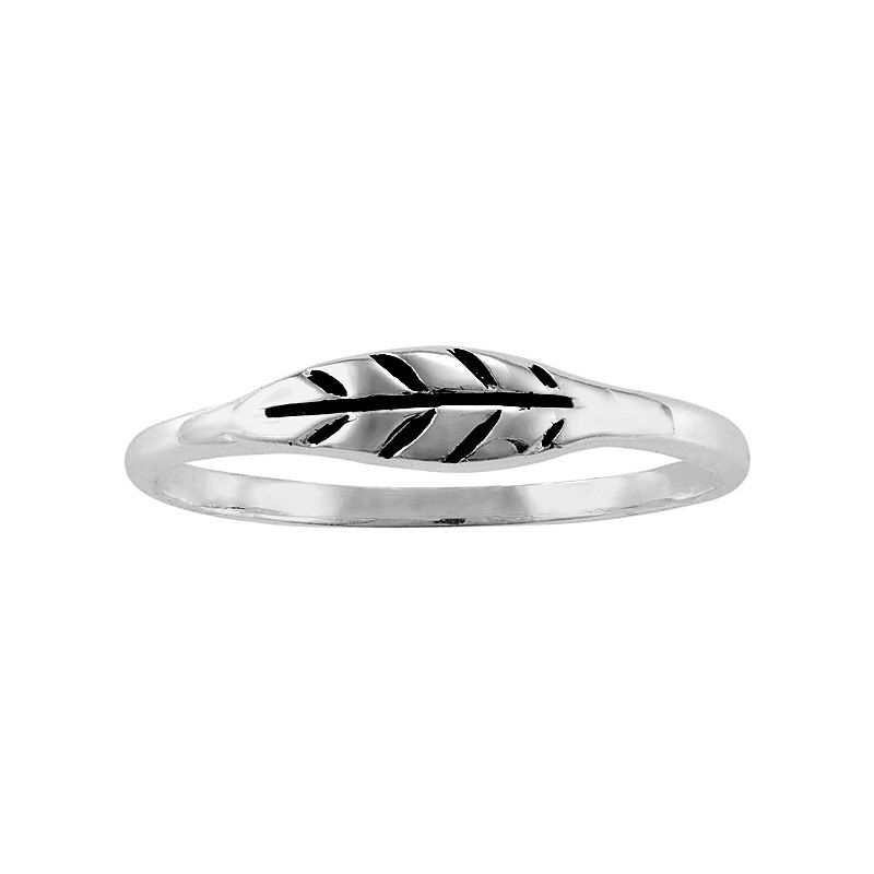 Sterling Silver Leaf Midi Ring