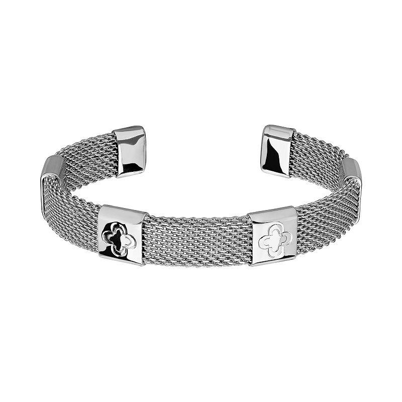 Marie Claire Jewelry Silver Tone Clover Mesh Cuff Bracelet