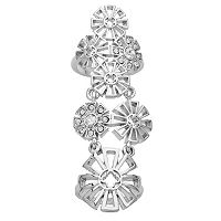 Marie Claire Jewelry Crystal Silver Tone Openwork Flower Full Finger Ring