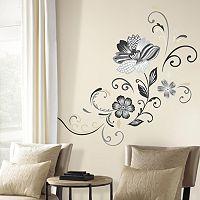 Flower Scroll Peel & Stick Giant Wall Decal Set