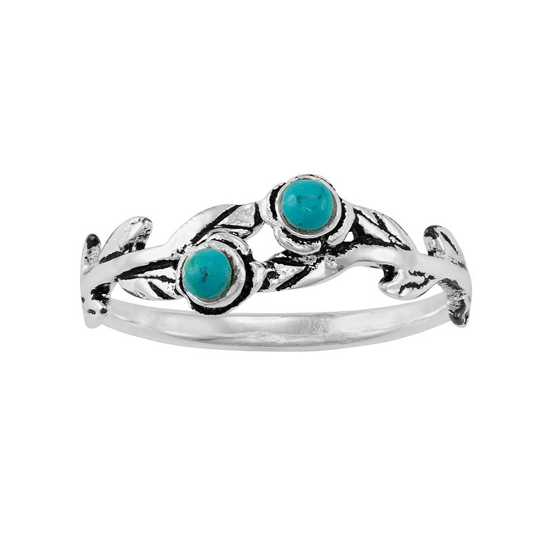 Reconstituted Turquoise Sterling Silver Leaf Midi Ring