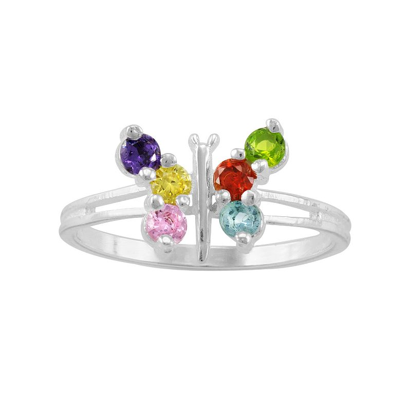 Cubic Zirconia & Glass Sterling Silver Butterfly Midi Ring