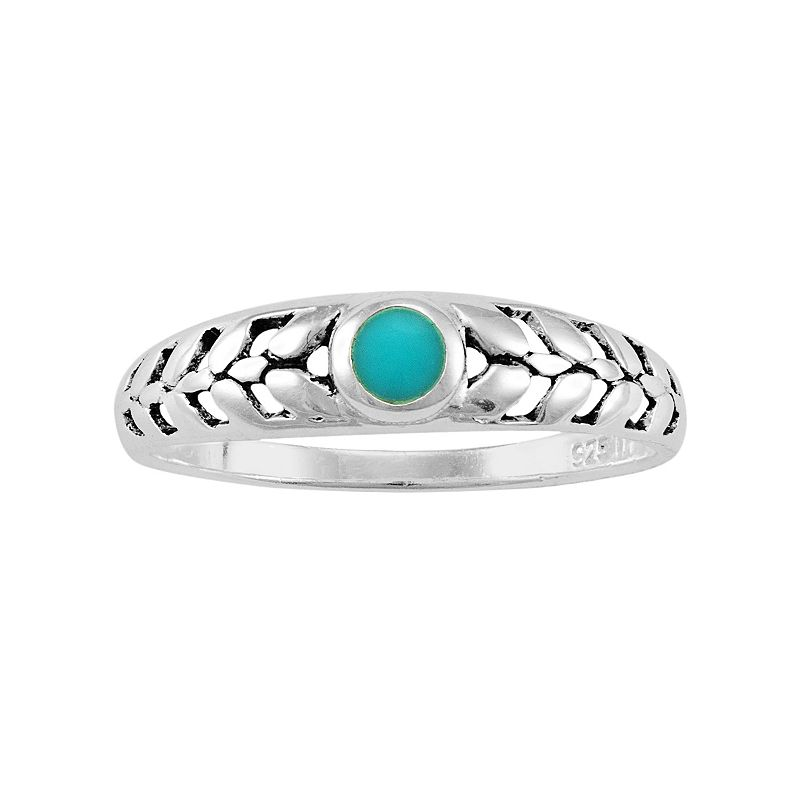 Reconstituted Turquoise Sterling Silver Leaf Ring