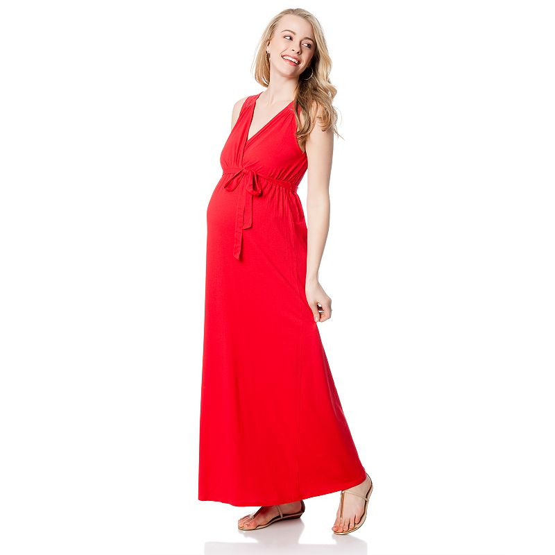 Oh Baby by Motherhood™ Lace-Yoke Surplice Maxi Dress - Maternity