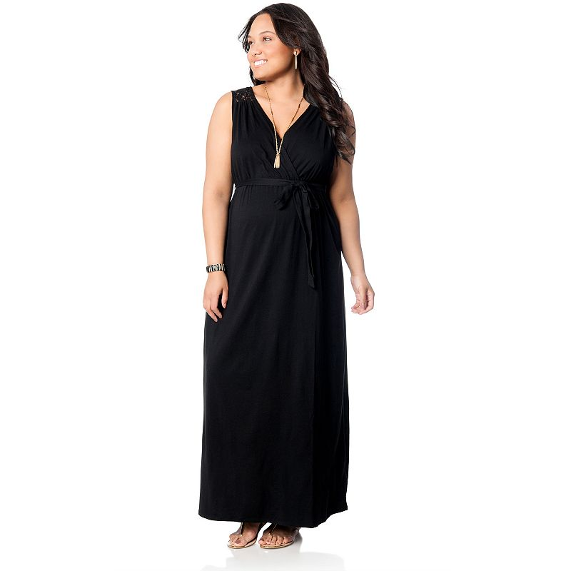 Plus Size Maternity Oh Baby by Motherhood™ Lace-Yoke Maxi Dress