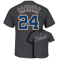 Men's Majestic Detroit Tigers Miguel Cabrera Player Name and Number Tee